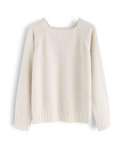 Waffle Knit Sweater in Cream