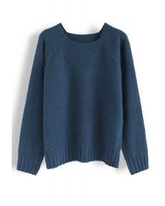 Waffle Knit Sweater in Indigo