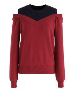Bicolor Ribbed Knit Top in Red