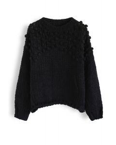 Hand-Knit Pom-Pom Trim Fluffy Sweater in Black