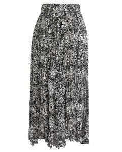 Leopard Print Pleated Midi Skirt in Black