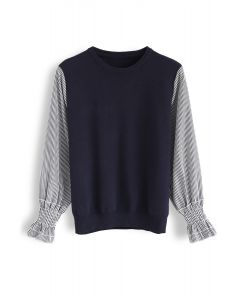Stripe Sleeves Spliced Knit Top in Navy