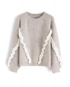 Fuzzy Ruffle Embellished Knit Sweater in Sand