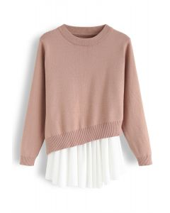 Chiffon Frill Hem Asymmetric Twinset Knit Top in Peach