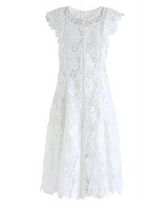 Blossom Crochet Sleeveless Midi Dress in White