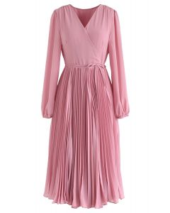 Pinky V-Neck Wrap Pleated Chiffon Dress