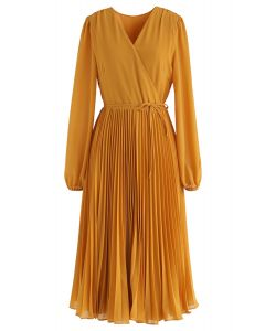 Mustard V-Neck Wrap Pleated Chiffon Dress