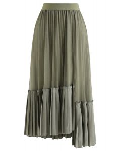 Mesh Asymmetric Hem Pleated Midi Skirt in Olive
