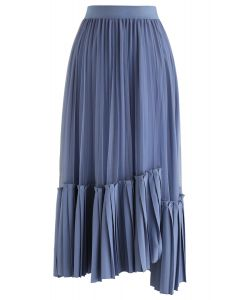 Mesh Asymmetric Hem Pleated Midi Skirt in Blue