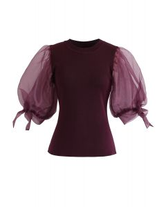 Organza Bubble Sleeves Knit Top in Wine