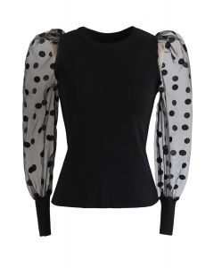 Polka Dots Mesh Sleeves Knit Top in Black