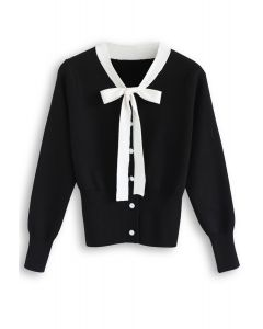 Button Down Bowknot Knit Sweater in Black