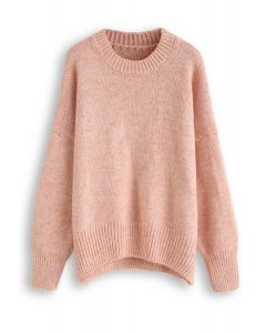 Loose Soft Knit Sweater in Pink