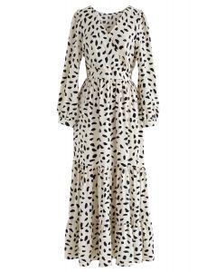 Spots Frilling Wrap Maxi Dress in Ivory