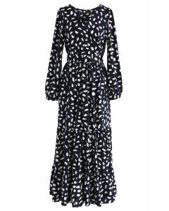 Spots Frilling Wrap Maxi Dress in Navy