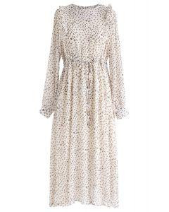 Floret Drawstring Ruffle Chiffon Dress in Ivory