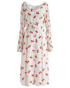 Cherry Print Button Down Belted Midi Dress
