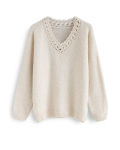 Twist Hollow Out V-Neck Fluffy Sweater in Cream