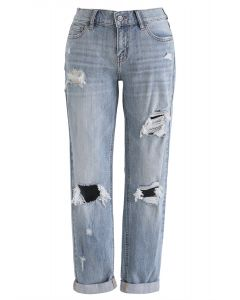 Classic Frayed Skinny Jeans in Washed Blue