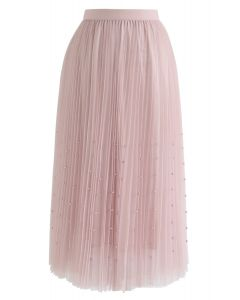 Pearls Trim Mesh Tulle Pleated Skirt in Pink