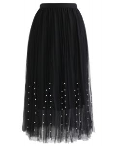 Pleated Double-Layered Mesh Tulle Pearls Skirt in Black