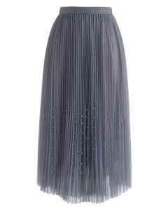 Pearls Trim Mesh Tulle Pleated Skirt in Smoke