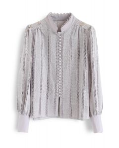 Crochet Eyelet Button Down Top in Lilac