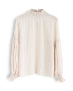 Flock Dots Puff Sleeves Shirred Top in Cream