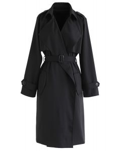 Open Front Pockets Belted Coat in Black