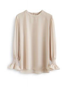 Round Neck Satin Smock Top in Cream
