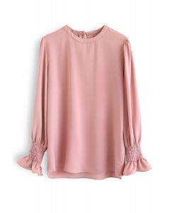 Round Neck Satin Smock Top in Pink