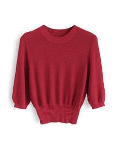Round Neck Cropped Knit Top in Red