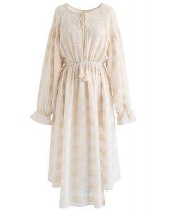 Flock Dots Batwing Sleeves Sheer Dress in Cream