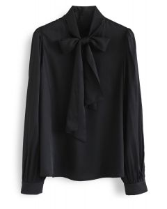 Scarf Neck Smock Top in Black