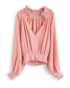 Deep V-Neck Shirred Top in Peach
