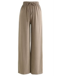 Drawstring Wide-Leg Pants in Tan