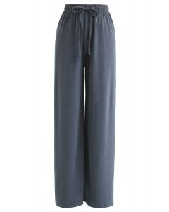 Drawstring Wide-Leg Pants in Teal
