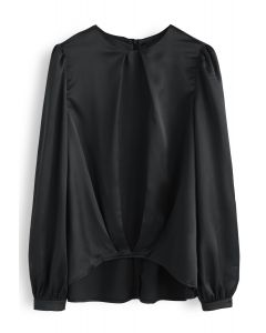 Hi-Lo Hem Satin Smock Top in Black