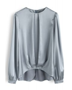 Hi-Lo Hem Satin Smock Top in Teal