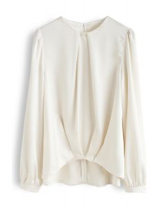 Hi-Lo Hem Satin Smock Top in Cream