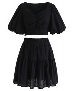 Sweetheart Floral Embroidery Puff-Sleeved Crop Top and Skirt Set in Black
