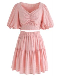 Sweetheart Floral Embroidery Puff-Sleeved Crop Top and Skirt Set in Peach