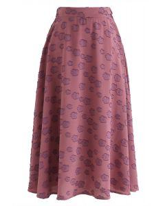Falling Florets Tasseled A-Line Midi Skirt in Berry