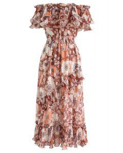 Blooming Floral Off-Shoulder Dress in Coral