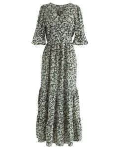 Wildflower Flare Sleeves Wrapped Maxi Dress in Green