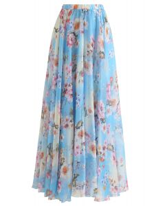 Peach Blossom Watercolor Maxi Skirt