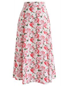 Red Rose Printed A-Line Midi Skirt