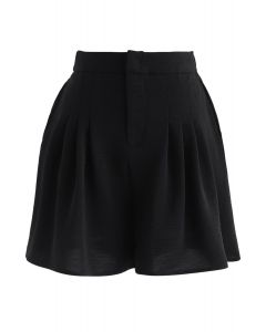 High-Waisted Pleated Shorts in Black