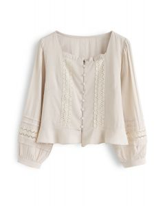 Square Neck Ruffle Buttoned Crop Top in Sand