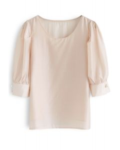 Faux Pearl Decorated Smock Top in Peach
